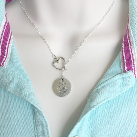 Live Laugh Love Silver Lariat Y Necklace.