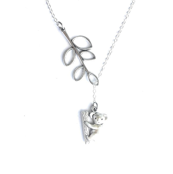 Koala Bear with Branch Silver Lariat Y Necklace.