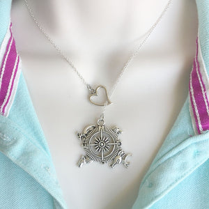 Compass Map (GOT) Silver Lariat Y Necklace.