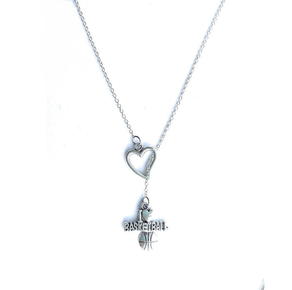 Basketball Fans; I Love Basketball Silver Lariat Y Necklace.