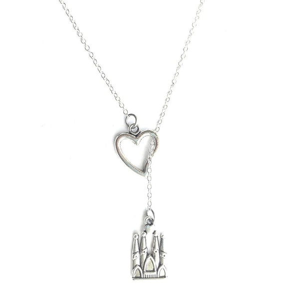 I Love La Sagrada Familia Silver Lariat Y Necklace.