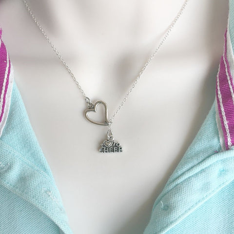 Cheerleaders; I Love to Cheer Silver Lariat Y Necklace.