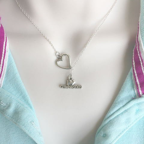 Gymnastics Fan; I Love Gymnastics Silver Lariat Y Necklace.