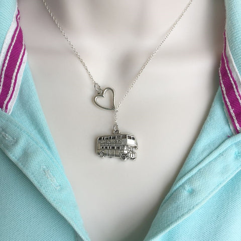 I Love London Double Decker Silver Lariat Y Necklace.