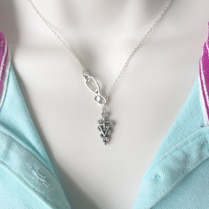 Stethoscope and Veterinarian Symbol Necklace Lariat Style.