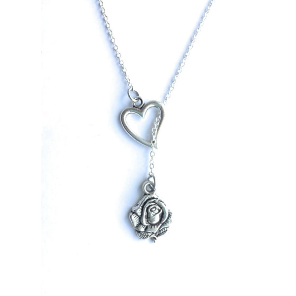 Beautiful ROSE for a Lady Silver Lariat Y Necklace.