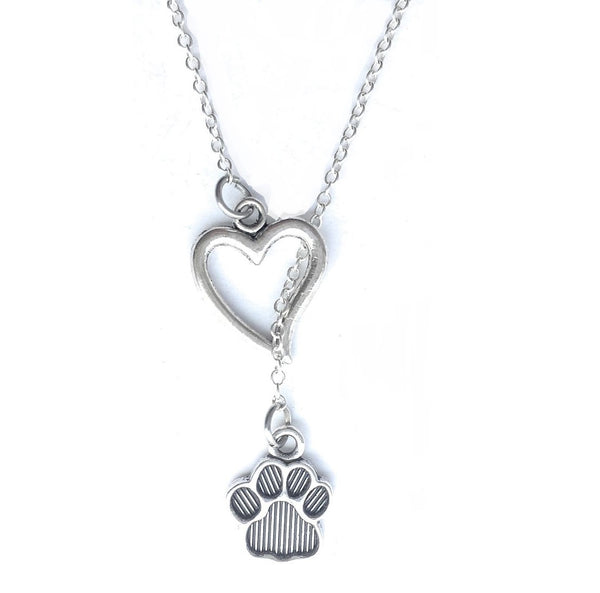 Dog Lovers: Heart and Solid Paw Prints Lariat Style Y Necklace.