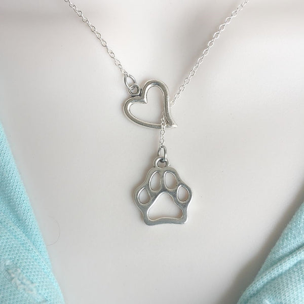 Dog Lovers: Heart and Solid Hallow Prints Lariat Style Y Necklace.