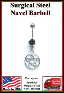 Pentagram Silver Charm Surgical Steel Black Belly Ring.