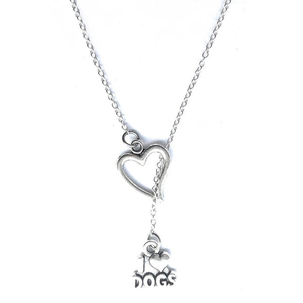Dog Lovers; I Love Dogs with Heart Lariat Style Y Necklace.
