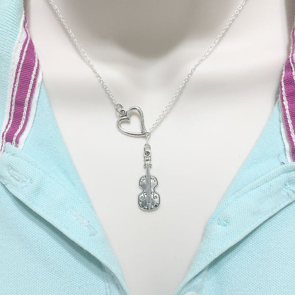 I Love Violin Silver Lariat Necklace.