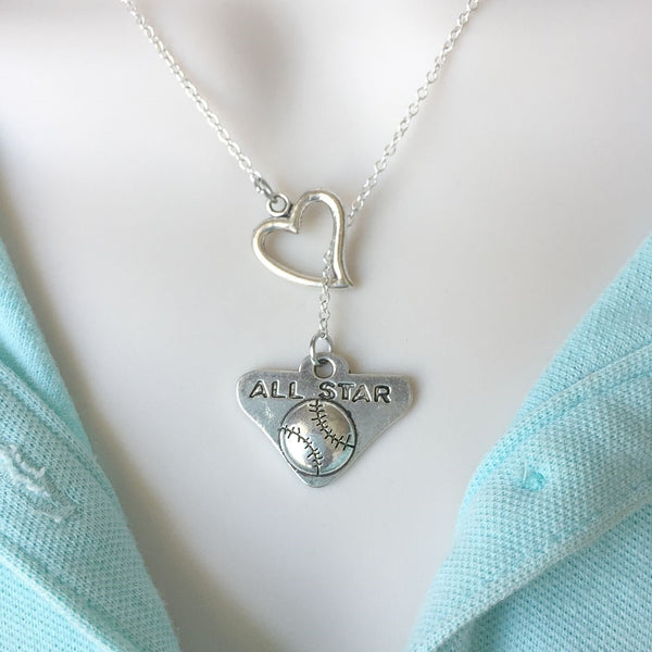 All Star Games  Charm with Heart Lariat Style Y Necklace.