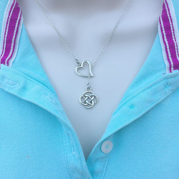 I Love Irish Love Knots Silver Lariat Y Necklace.