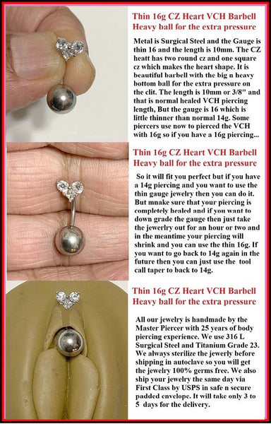 THIN 16 Gauge CZ HEART top with Big n Heavy Ball for Extra Pressure.