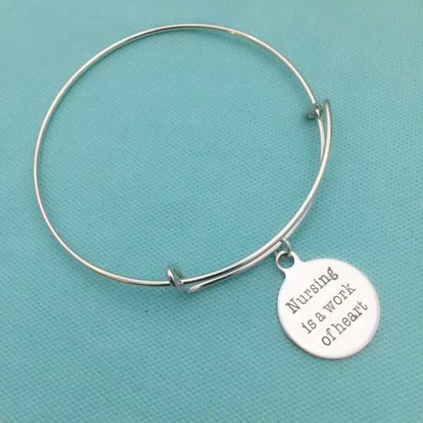 Medical Bracelet : Nurse's Heart related Charms Expendable Bangle.