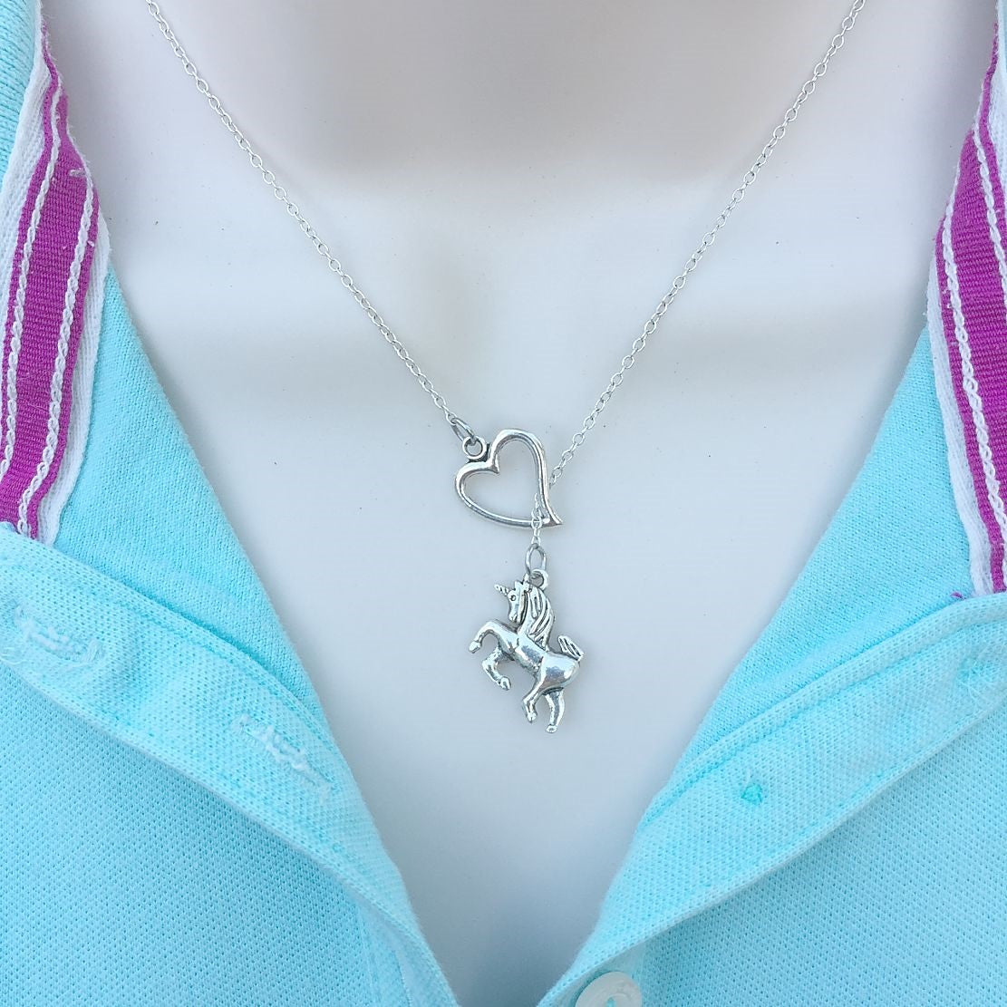 I Love Mystical Unicorn Silver Lariat Y Necklace.