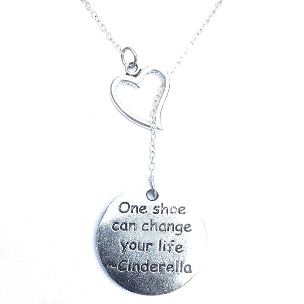 I Love Cinderella  Quote  Silver Lariat Y Necklace.
