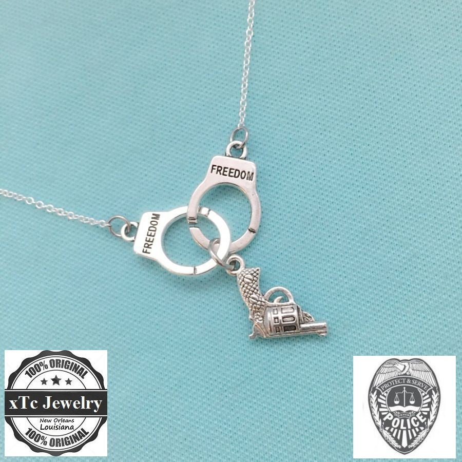 Police Dept. theme Charms Silver Necklace