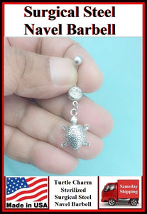 Gorgeous Turtle Silver Charm Surgical Steel Belly Ring.