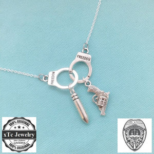 Police theme Charms Silver Necklace