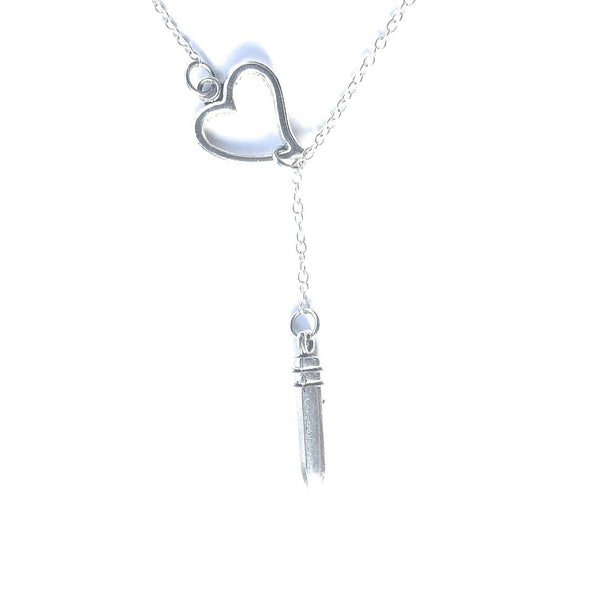 Shot thru the Heart  Silver Lariat Y Necklace.
