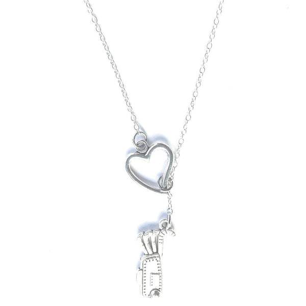 I Love Playing Golf Silver Lariat Y Necklace.