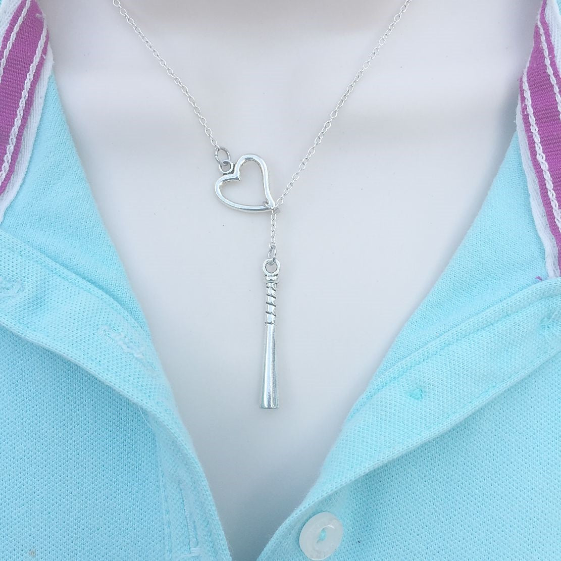 x-Large Baseball Bat Silver Lariat Y Necklace.