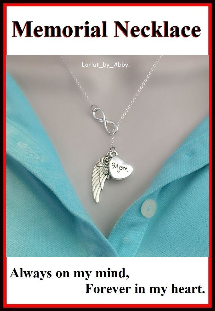 Beautiful Handcraft Mom Guardian Angel Necklace Lariat Style.