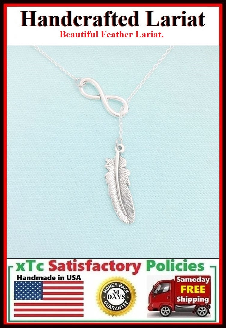 Beautiful Feather & Infinity Necklace Lariat Style. Modern n Trendy.