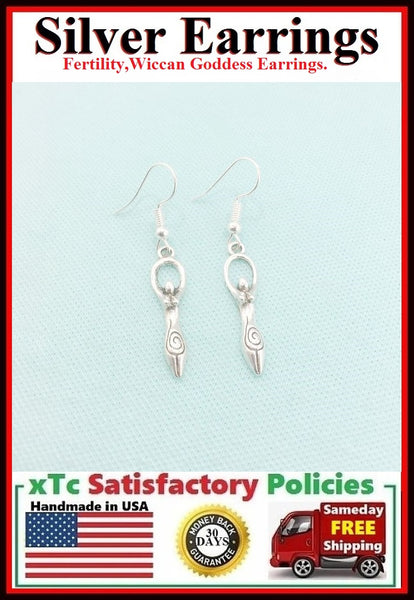 Fertility Goddess; Wiccan Goddess Silver Earrings.