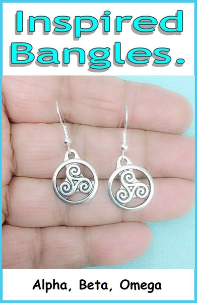Derek Hale Celtic Spiral Pair Silver Triskelion Dangle Earrings.