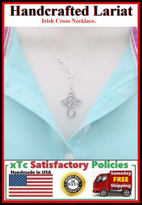 Beautiful Celtic or Irish Cross Lariat Style Necklace.