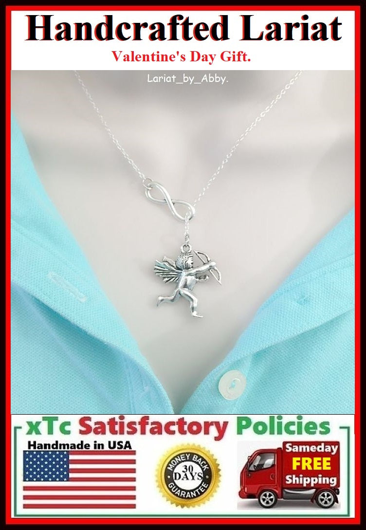 Large Cupid Silver Charm Handcrafted Lariat Necklace.
