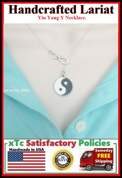 "Chinese Philosophy ""YIN & YANG"" Handcrafted Necklace Lariat Style."
