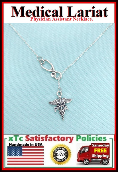 Physician Assistant Silver Charm Lariat Style Necklace.