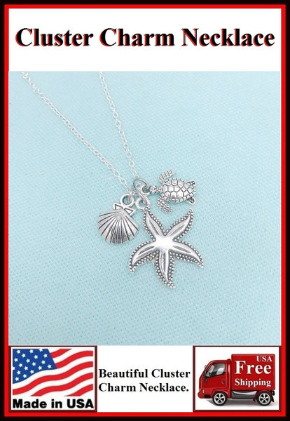 Stunning Starfish Cluster Charm Necklaces. #3