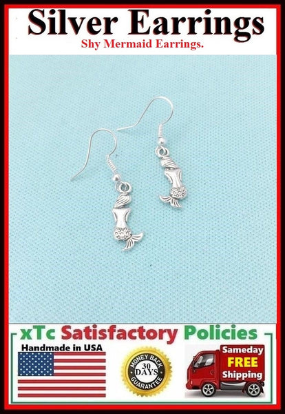Beautiful SHY MERMAID Silver Charms Dangle Drop Earrings.
