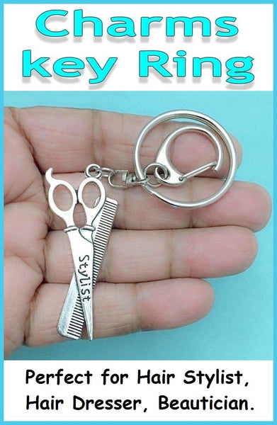 Perfect Charm Key Ring for Hait Stylist, Beautician  and Hair Dresser.