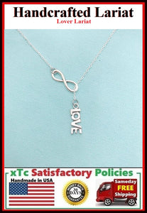 "Beautiful Drop Love & Infinity Silver Charm ""Y"" Lariat Necklace."