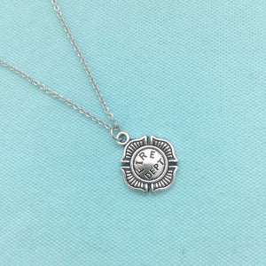 Firefighter Maltese Cross Charm Silver Chain Necklace.