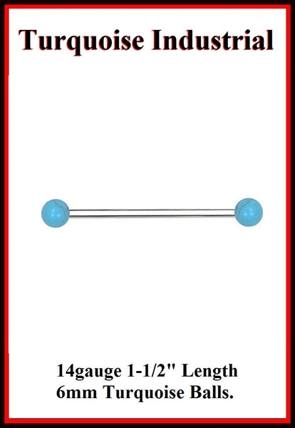 6mm Turquoise Ball Surgical Steel Industrial.