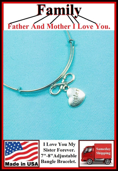 "Handcrafted "" I Love You My Sister Forever"" Charms Bangle."