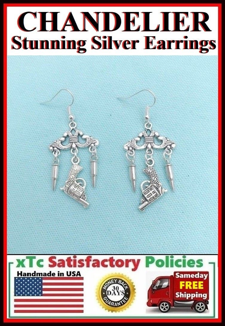 Stunning CHANDELIER Silver Bullets and Gun Dangle Earrings.