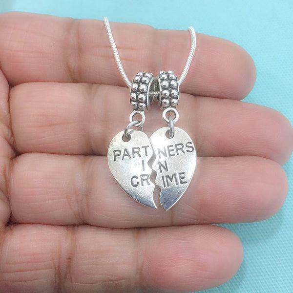 BESTIES : Partners in Crime Broken Heart Charms Fit Beaded Bracelet