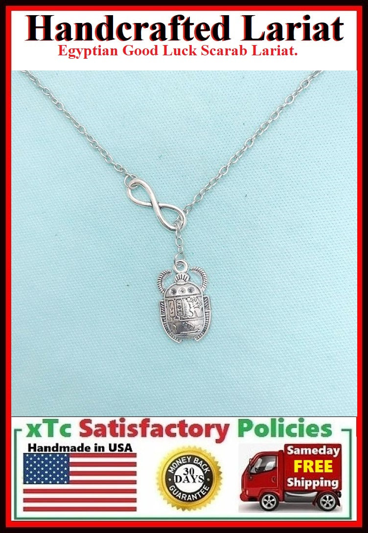 Egyptian Good Luck Beetle Handcrafted Necklace Lariat Style.