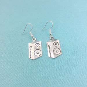 PERFECT GIFT for AUDIOPHILES: SPEAKERS Silver Charms Dangle Drop Earrings.