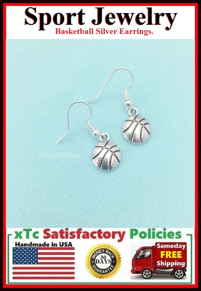 Beautiful Basketball Silver Earrings. Player Gift. Team Gift.