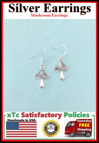 Beautiful MUSHROOM Silver Dangle Earrings.