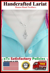 Mystical Hamsa Hand & Infinity Handcrafted Necklace Lariat Style.