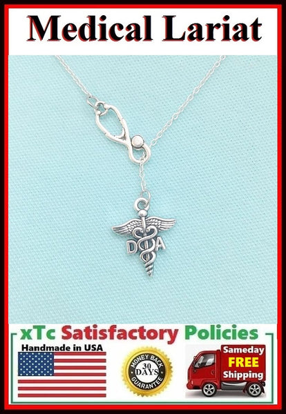 Stethoscope and DA (Dental Asst.) Symbol Necklace Lariat Style.